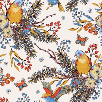 Vintage floral spring seamless pattern with birds, fir branches, cotton, flowers and butterflies