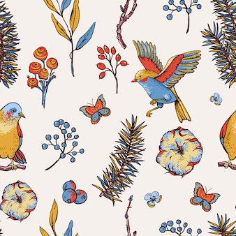 Vintage floral spring seamless pattern with birds, fir branches