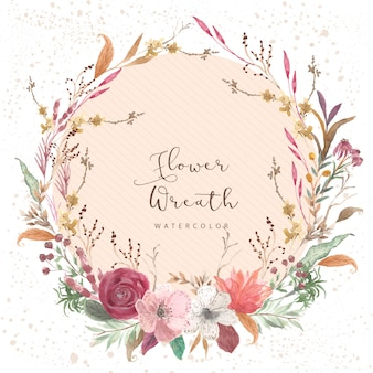 Vintage floral watercolor wreath