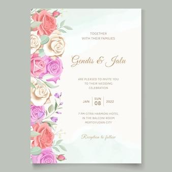ヴィンテージ花のウェディングカードテンプレート