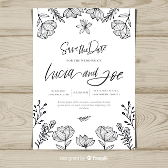 Vintage floral wedding card template
