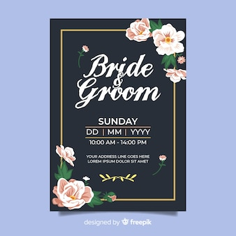 Vintage floral wedding card template