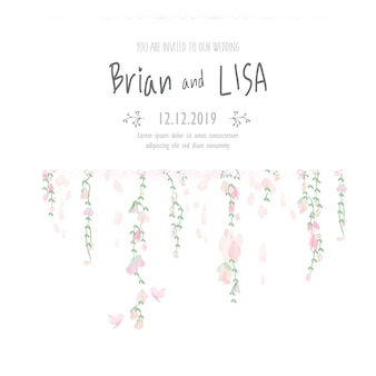 Vintage floral wedding card in watercolor style