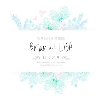Vintage floral wedding card in watercolor style.