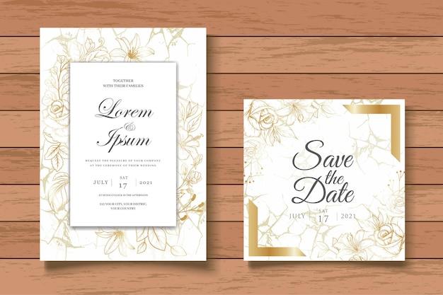 Vintage floral wedding invitation card template