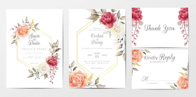 Vintage floral wedding invitation cards template set