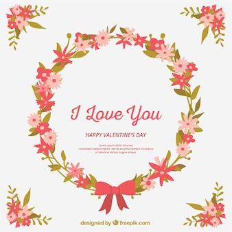 활과 사랑의 메시지와 함께 빈티지 꽃 화 환