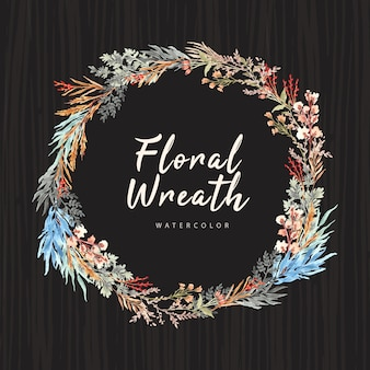 Vintage floral wreath with watercolor