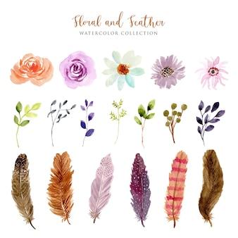 ヴィンテージの花と羽の水彩画コレクション