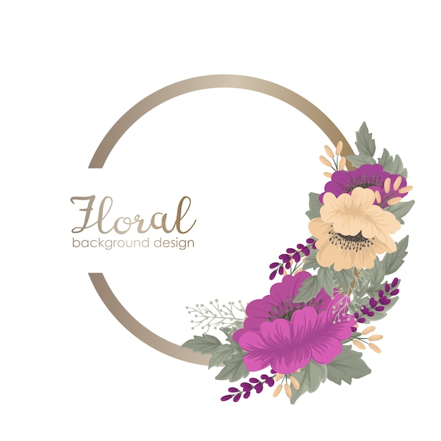 Vintage flower background floral wreath