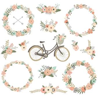 Vintage flower bicycles