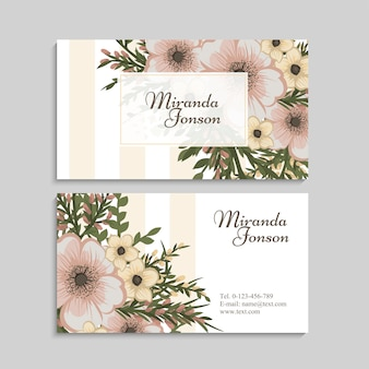 Vintage flower business card template