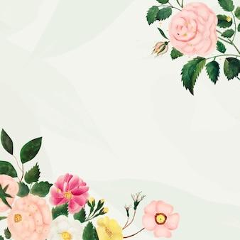 ヴィンテージ花フレームイラストベクトル