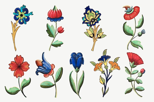 Vintage flower illustration vector set, featuring public domain artworks