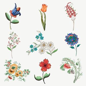 Набор векторных иллюстраций старинных цветов, с изображением произведений искусства, являющихся общественным достоянием