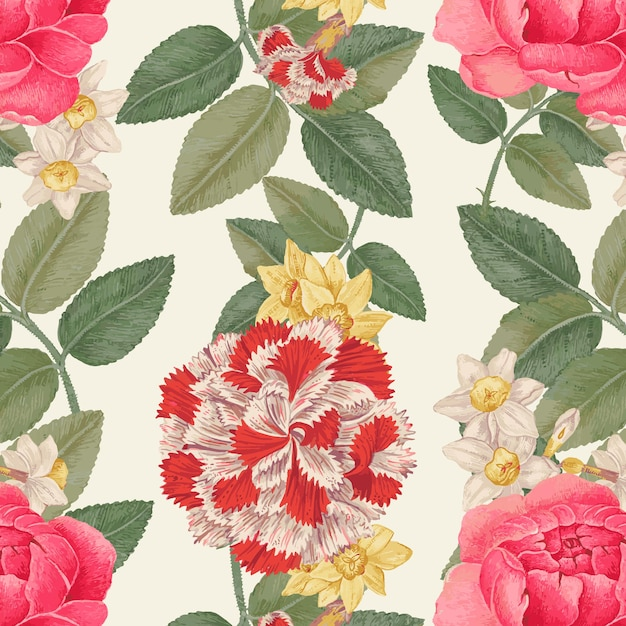 스미소니언 아카이브의 18세기 작품을 리믹스한 빈티지 플라워 패턴 배경.
