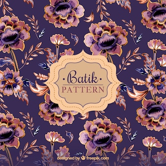 Vintage flower pattern in batik style