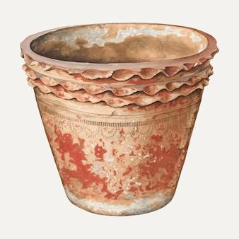 Illustrazione vettoriale di vaso di fiori vintage, remixata dall'opera d'arte di william spiecker