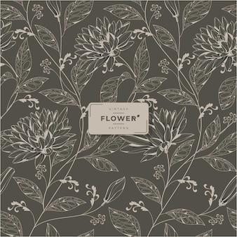 Vintage flower printable seamless pattern