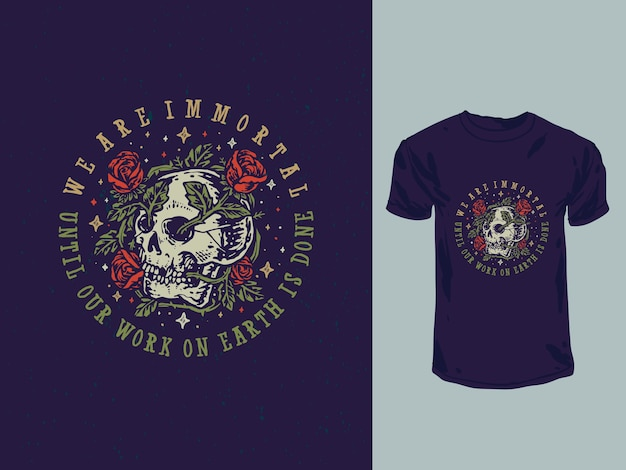 Vintage flower roses skull quotes illustration