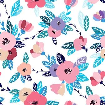 ヴィンテージの花のシームレスなパターン。穏やかな、春の背景。