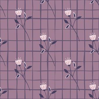 Vintage flower seamless pattern on lines background. floral wallpaper.