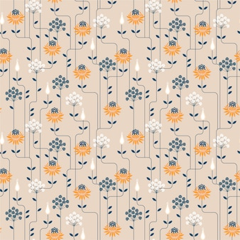 Vintage flower seamless pattern with line. ornament design for fashion fabric, wallpaper and all prints