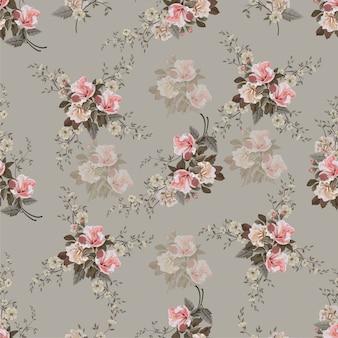 Vintage flower seamless pattern.