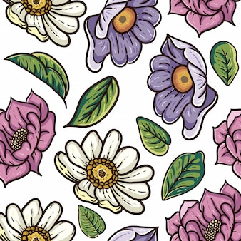 ビンテージ花のシームレスなパターン