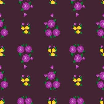 ヴィンテージ花ベクトルシームレスパターン背景