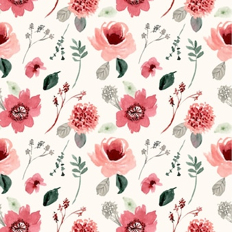 Vintage flower watercolor seamless pattern