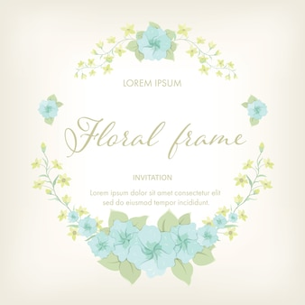 Vintage flower wreath frame template.
