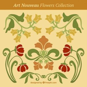 Vintage flowers in art nouveau style
