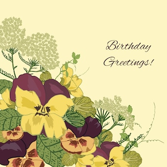 Vintage flowers birthday greetings background with pansy petunia viola vector illustration