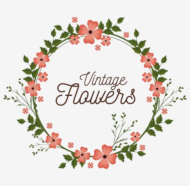 Vintage flowers frame decoration
