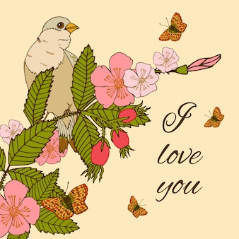 Vintage flowers illustration with bird