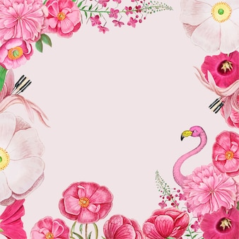 Vintage flowers and pink flamingo border frame vector