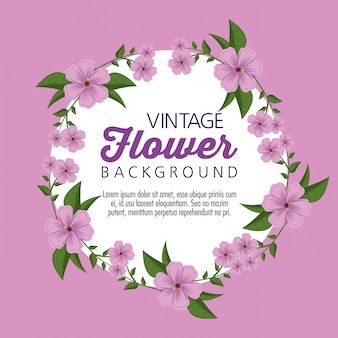 Vintage flowers plants with leaves style