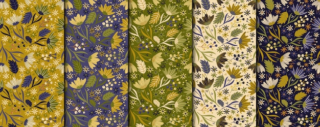 Vintage flowers seamless pattern. retro botanical design