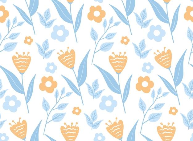 빈티지 꽃 원활한 패턴, 트렌디한 인쇄. 꽃 반복 질감, 배경입니다. 스칸디나비아 꽃. 벡터 일러스트 레이 션.