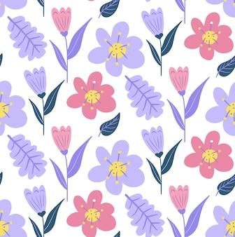 ヴィンテージの花のシームレスなパターン、流行のプリント。花の繰り返しテクスチャ、背景。スカンジナビアフローラル。ベクトルイラスト。