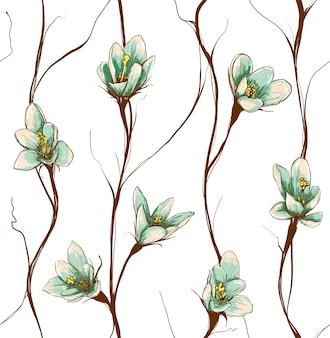 ヴィンテージ花のシームレスパターン