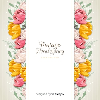 Vintage flowers spring background