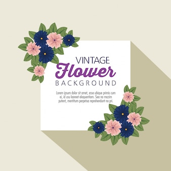 Vintage flowers with natural leaves