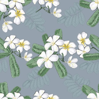 Vintage flowers with plumeria seamless pattern