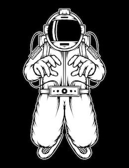 Винтаж летающий космонавт в космосе. премиум векторы