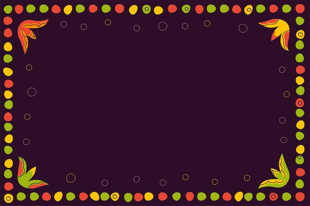 Vintage folk pattern of dots and colorful circles decorative frame on dark background retro graphic