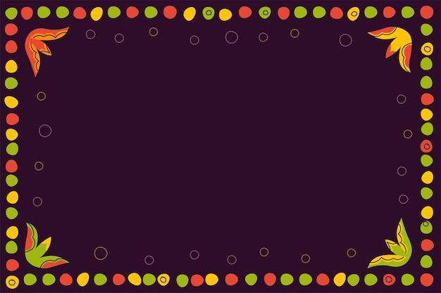 어두운 배경 복고풍 그래픽에 점과 화려한 원 장식 프레임의 빈티지 민속 패턴