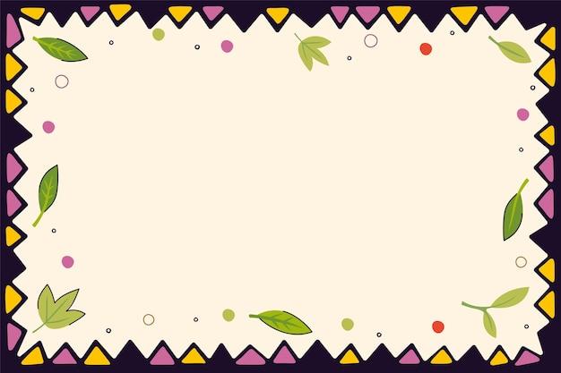 삼각형의 빈티지 민속 패턴과 나뭇잎 장식 프레임 배경 복고풍 그래픽 손으로 그린