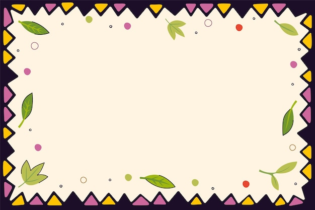 Vintage folk pattern of triangles and leaves decorative frame background retro graphic hand drawn